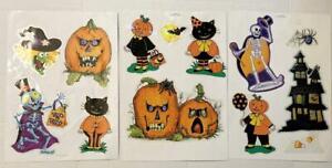 3 Sheets of Halloween Window Clings Decals Pumpkins Cat Pumpkin Man Bat