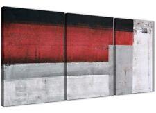 3 pezzi Rosso grigio accessori da cucina pittura in Tela-ASTRATTO 3428 - 126 cm