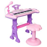 37 Key Girl Mini Electronic Keyboard Piano Stool Microphone Musical Toy Gift