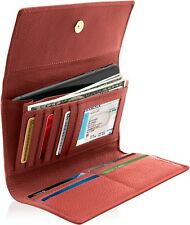 Leather Trifold Wallet For Women With Removable Checkbook Holder RFID Blocking
