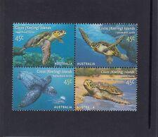 COCOS Islands 2002 TURTLES of COCOS design BLOCK set of 4 MNH - Marine Wildlife