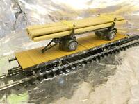 ** Fleischmann 825726 4 Axled Rung Wagon loaded & Wiking Log Transporter 1:87