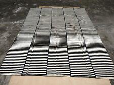 Black White Area Rug Hand Woven Carpet Rug 100% Wool Striped Floor Rug Handmade