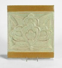 Grueby Pottery large 2 color floral tile matte yellow ochre white Arts & Crafts