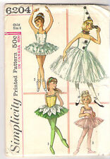 Simplicity Sewing Pattern 6204, Child's Ballet Costume, Hat, Ruff, Size 6, Uncut