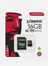 Kingston Micro SD SDHC Memory Card TF Class 10 16GB & SD Card Adapter