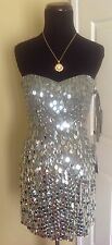 NEW SHERRI HILL 2304 GUNMETAL SILVER SHORT FORMAL  COCKTAIL EVENING DRESS 4 NWT