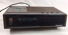 Vintage Panasonic AM/FM 2-Band Fluorescent Clock Radio Model RC-6130 Brown Wood