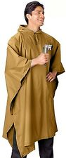 Coyote Brown Rip-Stop Tactical Police Military Hooded Rain Poncho 4938