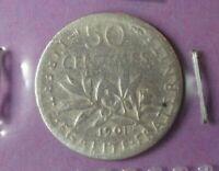 50 centimes Semeuse 1901 : B : pièce de monnaie Française ARGENT N20
