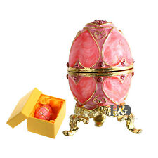 Handmade Jewelry Box Pink Egg Shape Metal Trinket Boxes Cute Gifts with Gift Box