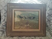 Original Carolyn Blish Realist Oil Painting Seascape Beach Row Boat Sea Gulls