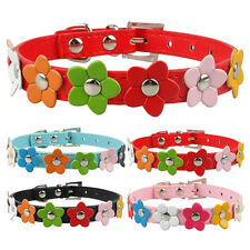 2pcs PU Leather Dog Puppy Collars with Flowers Cute for Small Dogs Cats XS-L