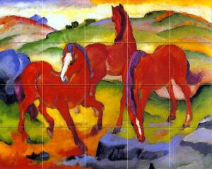 20 x 16 Art Franz Marc Red Horses Tumbled Marble Mural Backsplash Tile #75