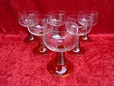 6 Hermoso, Viejo copas de vino __ Marrón Pie __