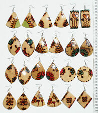 Lot 7 Pairs Dangle Coconut Earrings with Ethnic Drawings Handcrafted Jewelry Art