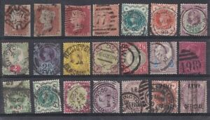QUEEN VICTORIA  USED GREAT BRITAIN SELECTION OF 21 STAMPS - ALL SHOWN  IN SCAN