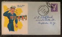 1943 Dubuque IA USA Navy Patriotic Cover To Buffalo NY Aw It  Was Nothing Cachet