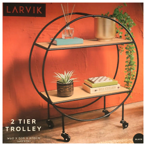 2 Tier Round Trolley With Wheels Home Decor Storage Side table Living Room