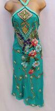 Simply Stunning Karen Millen  3D Flower Embroidered  Dress 8 UK Aqua/Turquoise