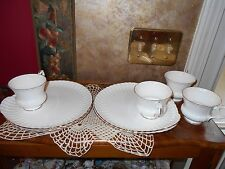 Crown Staffordshire White Gold Fine Bone China Snack Luncheon Sets Cups Plates