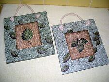 "Decorative Pair 8"" Sq. Wall Hangings-Green Leaf Motiff on Burlap - Rope Hangers"