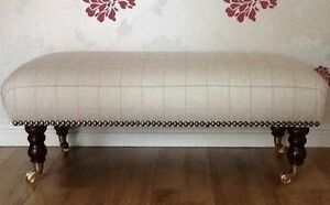 Footstool Stool In Laura Ashley Orton Natural Fabric