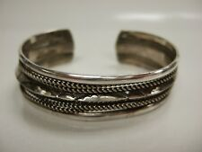 Signed Vintage Navajo Hand-Stamped Sterling Silver Cuff Bracelet - Signed