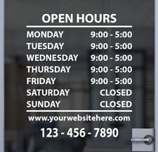 Hours Of Operation Business Hours Window Door Decal Sticker Custom Store Signage