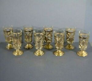 Eight Mexican 9.25 Sterling Silver And Glass Tequila Shot Glasses, Vintage