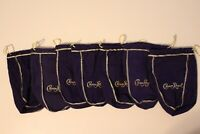 CROWN ROYAL7 BAG LOT PURPLE FELT BAG GOLD ROPE TRIM NEW LENGHT 9''