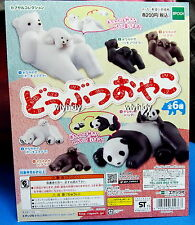 Mini Bear & Panda Figure 6pcs + Display Card - Epoch Gashapon , h#3ok