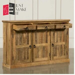 MADE TO ORDER Hand Carved Indian Handmade Solid Wood Natural Sideboard Floral