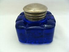 Cobalt Blue Inkwell With Silver Tone Cap