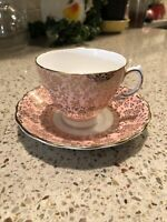 Colclough Pink Gold Floral Bone China Tea Cup & Saucer Made in England EUC