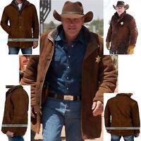 b6f5e3c182004 Sheriff Walt Robert Taylor Longmire Suede Brown Leather Coat