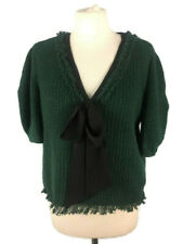 Zara Size Large 14 Green Pussy Bow Textured Wool Look Short Sleeve Top Jumper