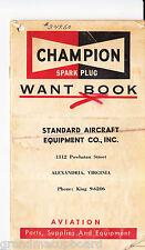 60's Champion Spark Plug Aviation Want Book Alexandria Virginia Aircraft Parts