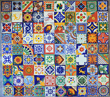 90 PCS TALAVERA HANDMADE MEXICAN TILES 4X4 MIX DESIGNS