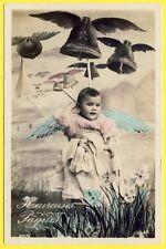 cpa FANTAISIE CLOCHES BÉBÉ ANGE Heureuse Pâques FANTASY Happy Easter BABY ANGEL