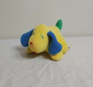 "Vintage Eden 6"" Puppy Dog Yellow Blue Green Rattle MADE IN USA Stuffed Plush"