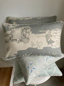 """VANESSA ARBUTHNOTT """"FOR THE LOVE OF ROSE"""" PIPED CUSHION COVER DUCK EGG 20""""x11"""