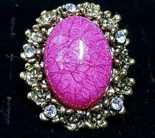 New fashion cocktail ring jewelry adjustable pink oval gold-toned metal cute