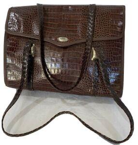 BRIGHTON Authentic Brown Leather Business Satchel Shoulder Bag