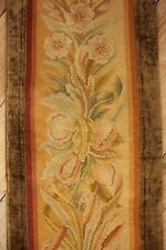 Antique Curtain French Arts & Crafts  needlepoint border textile tapestry