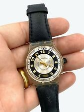 Musical Alarm swatch watch water resistant 1995 Clear case - tested & working