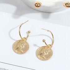 UK Seller Gold Coin Hoop Huggie Dangle Drop Earrings Fashion