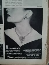 1946 Kramer diamond cut stones sterling silver necklace jewelry ad