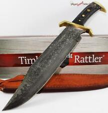 Timber Rattler Western Outlaw Massive Damascus Bowie Hunting Skinning Knife