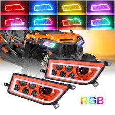 2X Orange ATV LED RGB Headlights DRL For Polaris General 1000 RZR 900 XP 4 1000